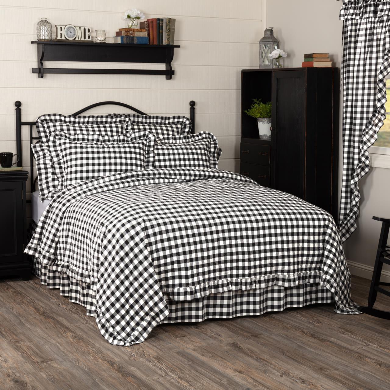 Annie Buffalo Black Check Ruffled Quilt Coverlet - 840528182334