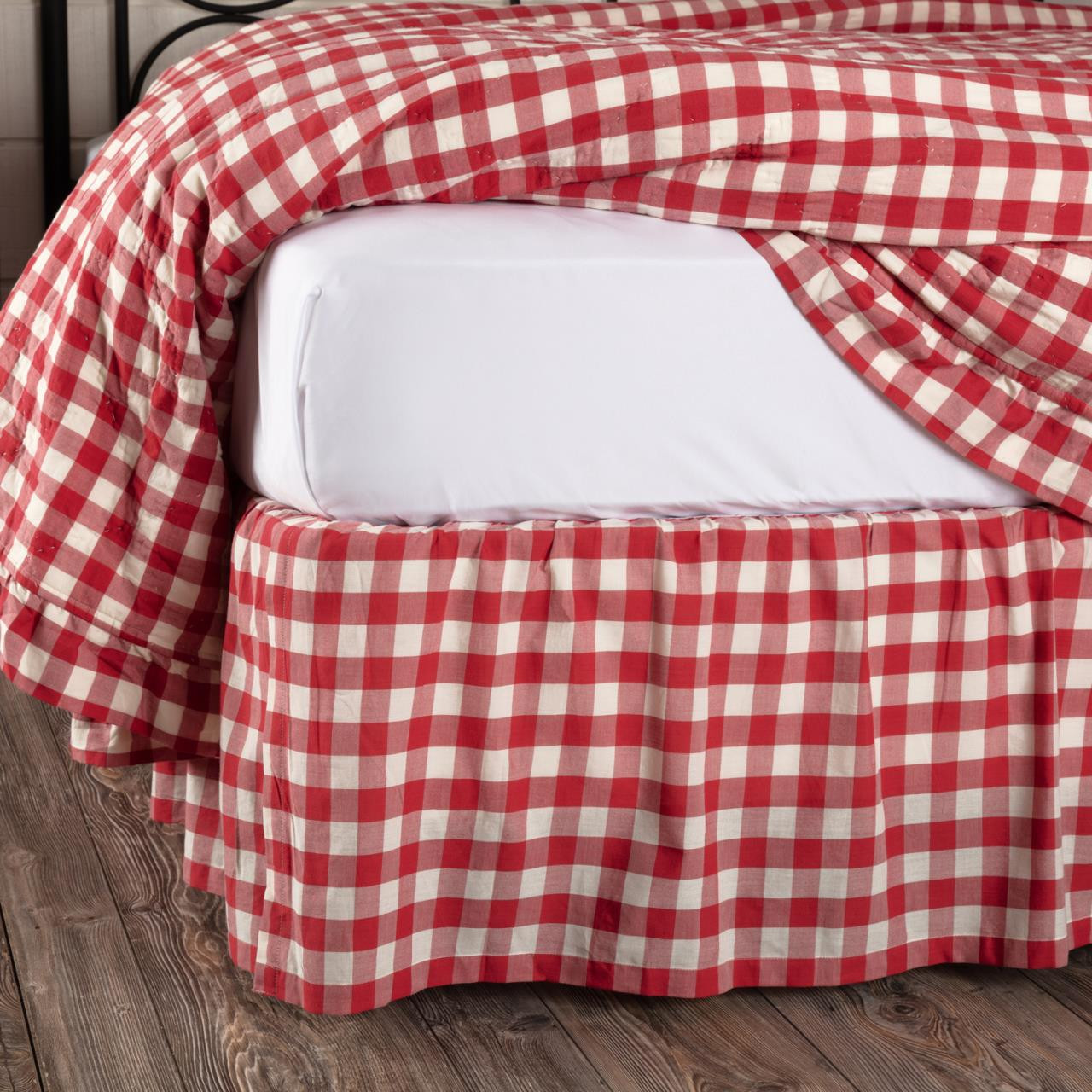 Annie Buffalo Red Check Bed Skirt - 840528182433
