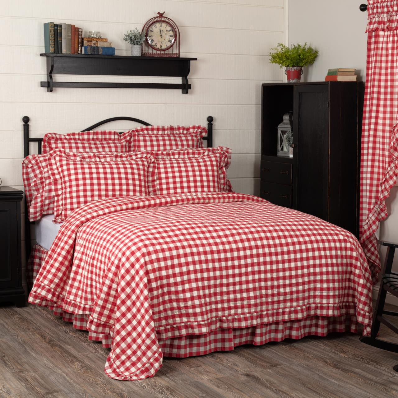 Annie Buffalo Red Check Ruffled Quilt Coverlet - 840528182488