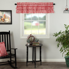 Annie Buffalo Red Check Ruffled Valance - 840528182563