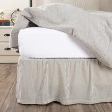 Hatteras Seersucker Blue Ticking Stripe Bed Skirt - 840528183393