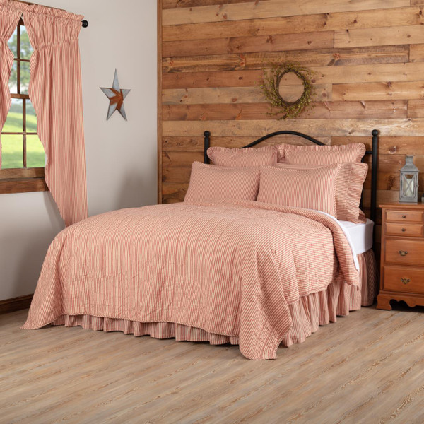 Sawyer Mill Red Ticking Stripe Quilt Coverlet - 840528184314