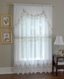 Vintage Sheer Macrame Lace Embroidered Curtain and Tier -