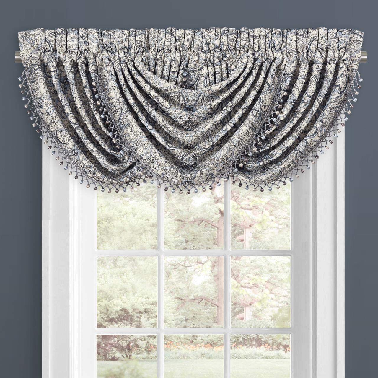 Alexis Powder Blue Waterfall Valance By J Queen New York Paul S Home Fashions