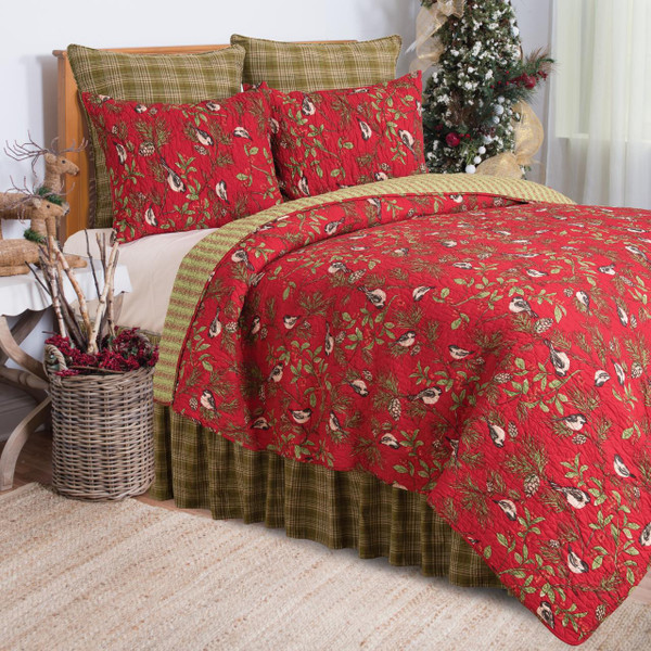 Chickadee Red Quilt Collection -