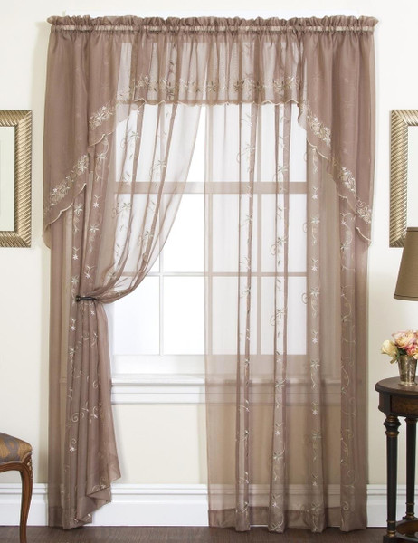 Emelia Embroidered Sheer Lace Curtain - 647506017981