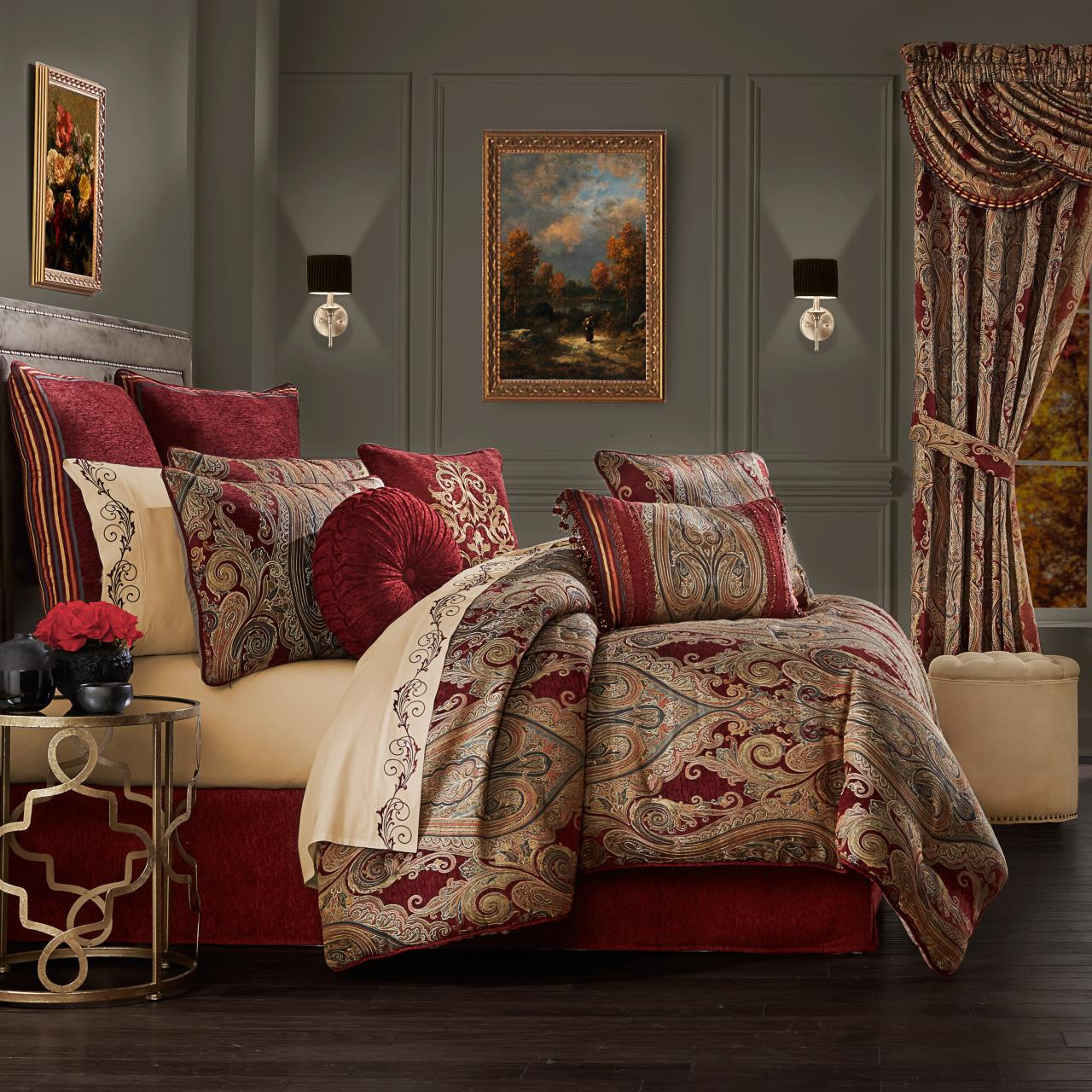 Garnet Red Comforter Set By J Queen New York Paul S Home Fashions