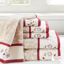 Serene Embroidered Cotton Jacquard 6 Piece Towel Set - 086569905475