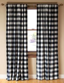 Black & White Lumberjack Buffalo Plaid Curtain Pair - 357311330488