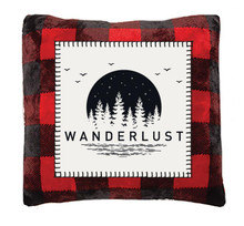 Red Buffalo Plaid Wanderlust Rustic Pillow - 357311327518