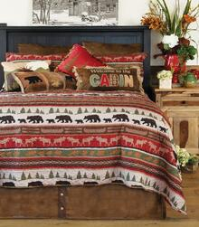 Cabin And Lodge Stripe Rustic Quilt Collection -