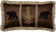Bear Tree Faux Leather Pillow - 357311075754
