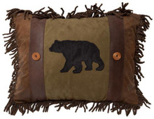 Olive Bear and Button Rustic Cabin Pillow - 357311336800