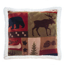 Patchwork Lodge Rustic Cabin Sherpa Pillow - 357311308876