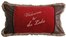 Red Welcome To The Lake Rustic Cabin Pillow - 357311077734