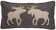 Two Moose Rustic Cabin Pillow - 357311331850