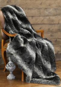 Black Wolf Faux Fur Throw - 357311110226
