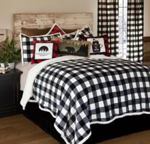 Black & White Lumberjack Buffalo Plaid Sherpa Bedding Set - 035731132997