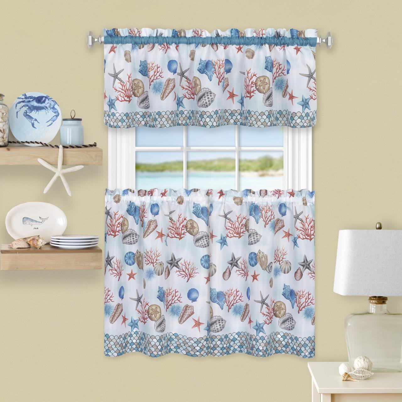 Coastal Tier Curtain Set - 054006252628