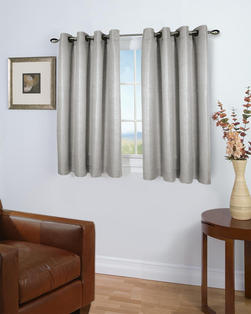 Grass Cloth Solid Color Insulated Curtains -