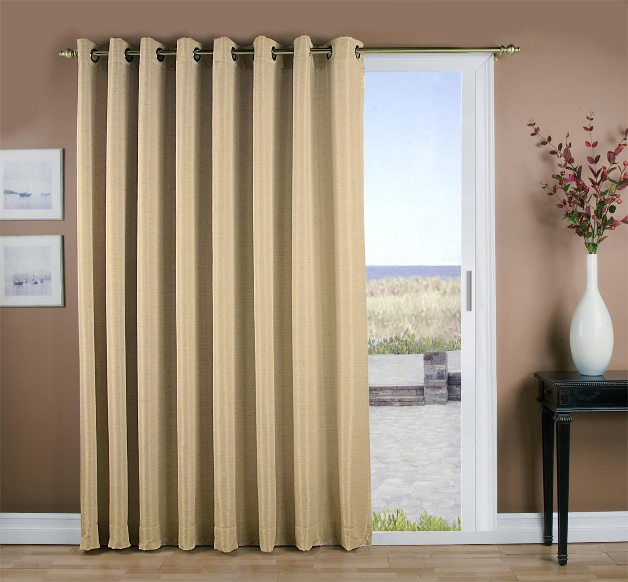 Grasscloth Insulated Solid Color Grommet Patio Curtain Panel w/ Wand - 842249028892