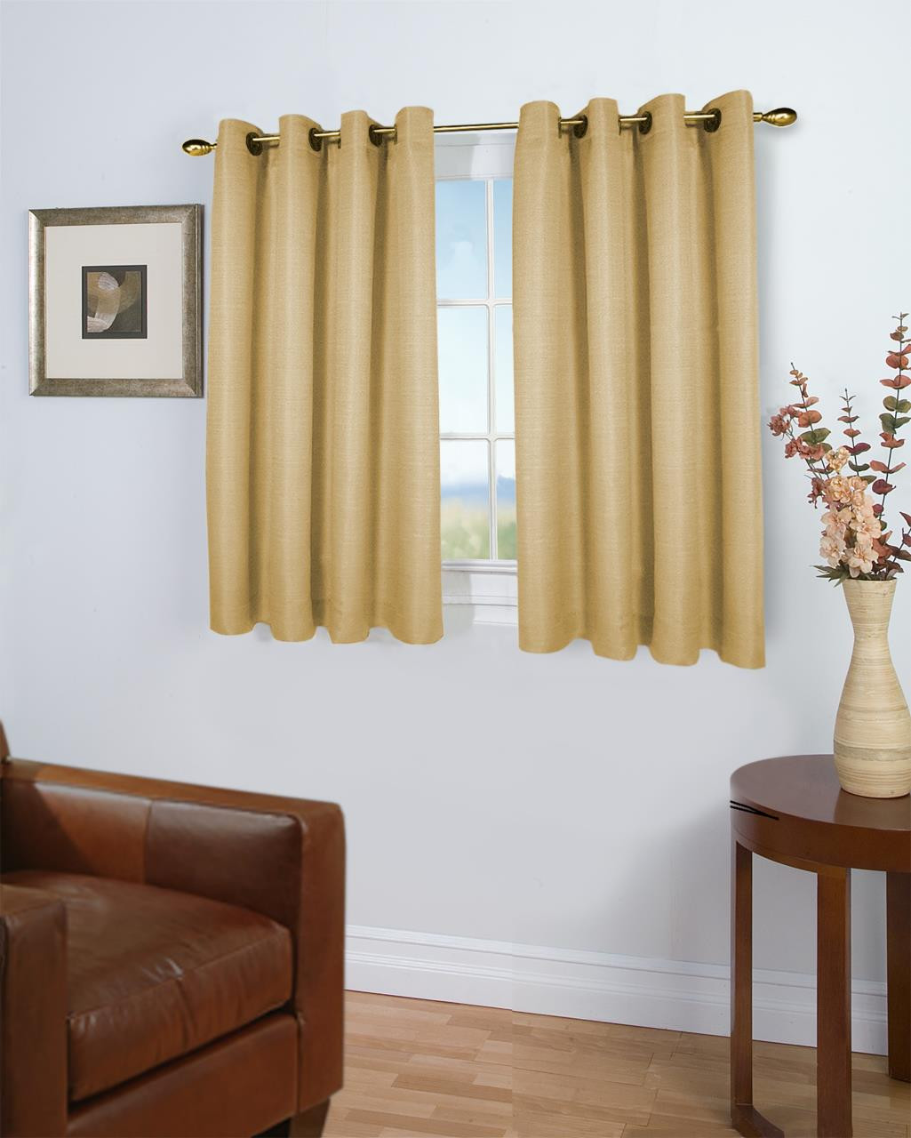 Grasscloth Insulated Solid Color Grommet Short Curtain Panel w/ Wand - 842249039379