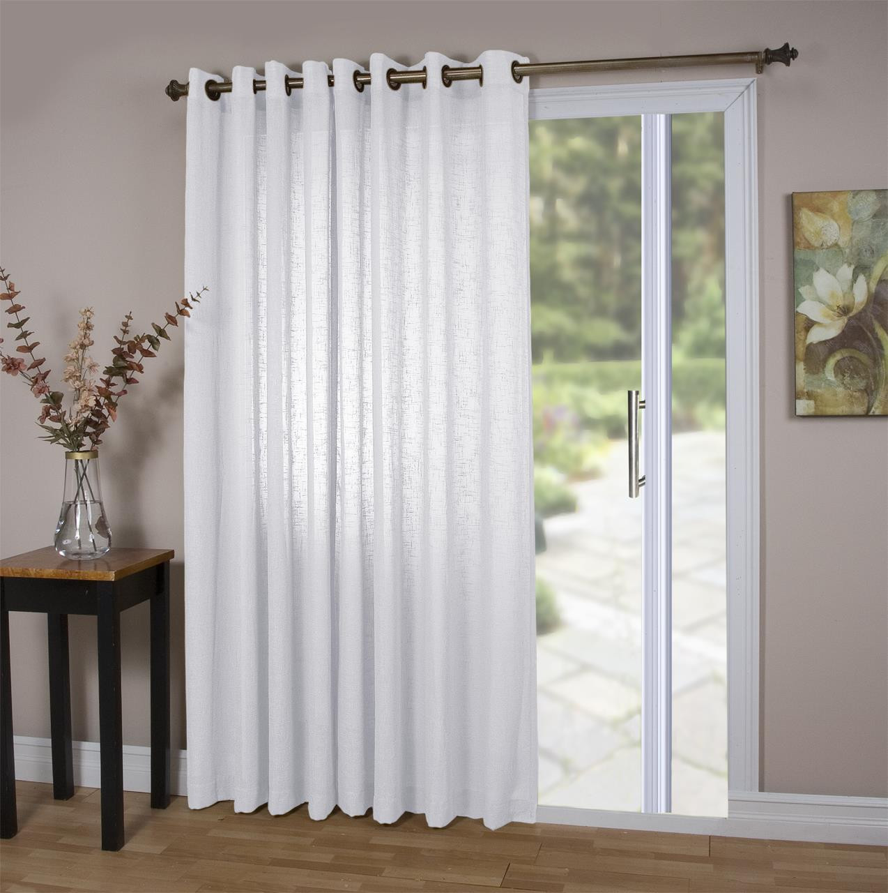 Shannon Sheer Linen Door Curtain Panel w/ Tieback - 842249038587