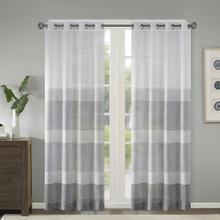Hayden Woven Faux Linen Sheer Grommet Curtain - 675716965419
