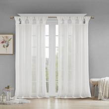 Rosette Faux Linen Sheer Curtain - 865690135148