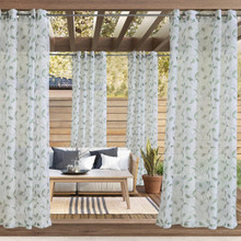 Two Tone Leaf Outdoor Grommet Curtain - 069556579811