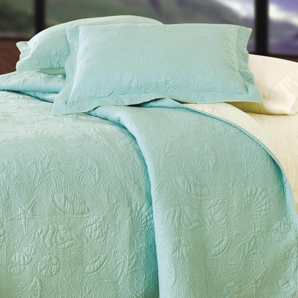 Blue Shell Matelasse Quilt Collection -