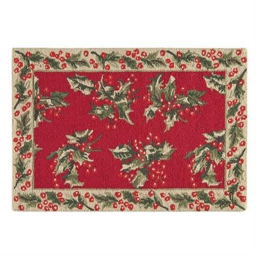 Holly Red Hooked Rug - 164924544818