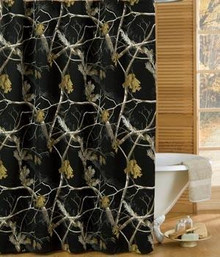 All Purpose Camo Snow and Black Shower Curtain -