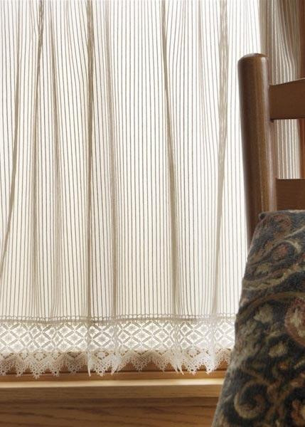 Chelsea Pin Stripe Lace Curtains -