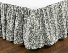 Bouvier Black Leaf Print Bed Skirt - 13864100175