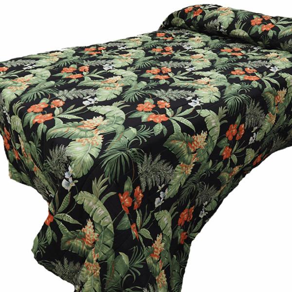Black Tropical Coverlet -