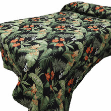Black Tropical Bedspread -