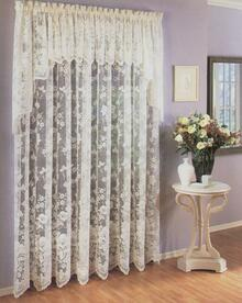 Floral Vine Lace Curtain Panel -