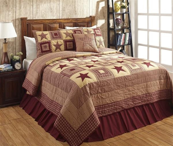 Colonial Star Burgundy and Tan Quilt Collection -