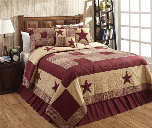 Jamestown Burgundy and Tan Quilt Collection -