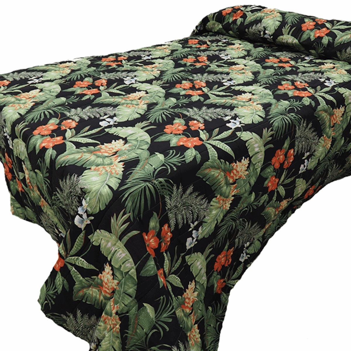Black Tropical  Bedspread Collection -