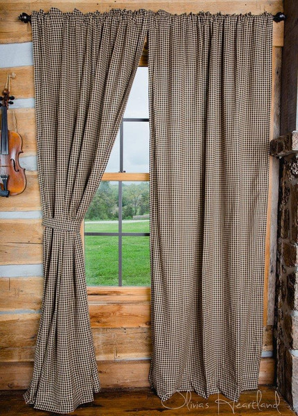 Black and Tan Checkered Curtains -