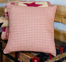 Burgundy and Tan Checkered Fabric Pillow - 844160082717
