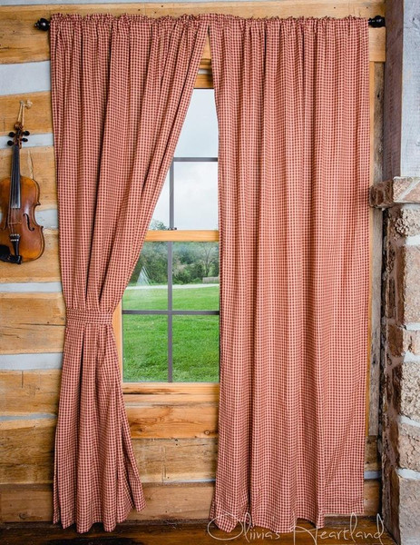 Burgundy and Tan Checkered Curtains -