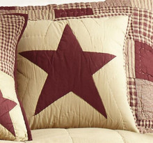 Burgundy and Tan Quilted Star Pillow - 844160082571