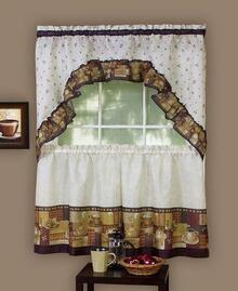 Coffee Printed Tier Kitchen Curtain Set -