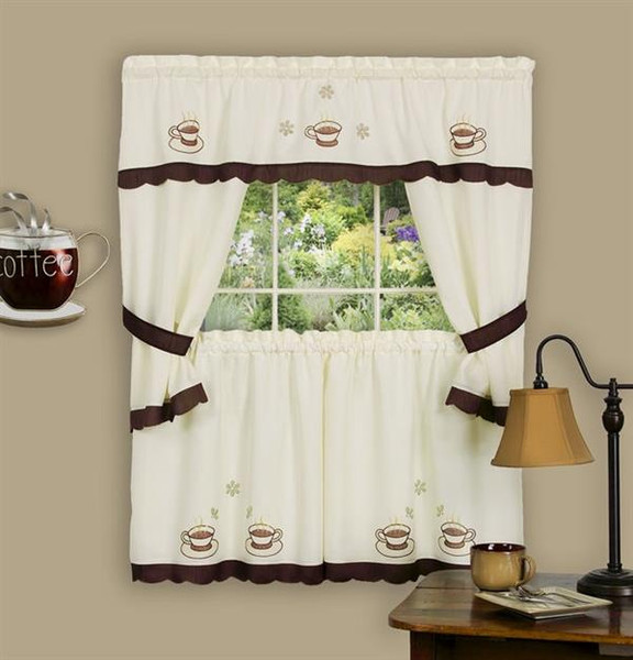 Cuppa Joe Embellished Cottage Tier Curtain Set -