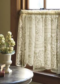 Victorian Rose Lace Tier Curtain -
