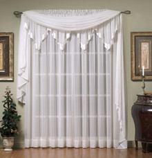 Silhouette Embroidered Stripe Sheer Rod Pocket Curtains -