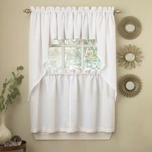 Ribcord Solid Color Kitchen Tier Curtain and Valance -